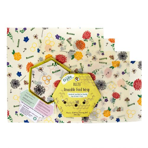 BUZZEE ORGANIC BEESWAX WRAPS PACK 4 - BEES AT WORK
