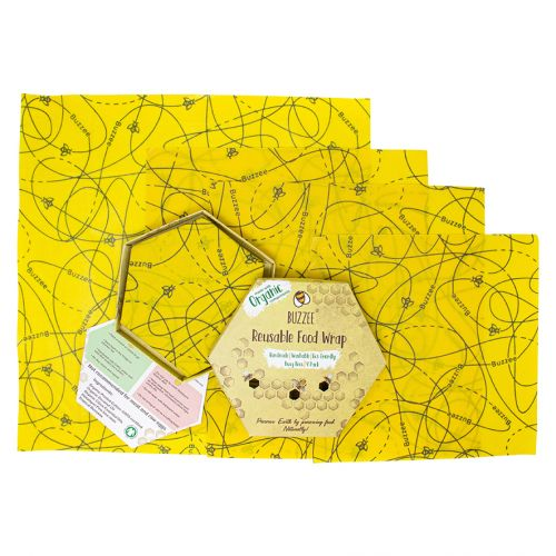 BUZZEE ORGANIC BEESWAX WRAPS PACK 4 - BUSY BEES