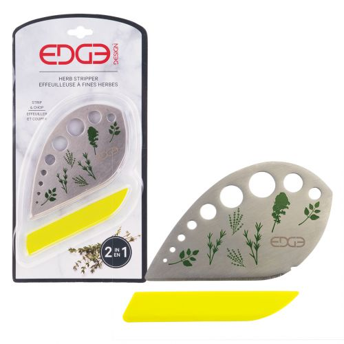 EDGE DESIGN STAINLESS STEEL HERB STRIPPER W/ PROTECTIVE SLEEVE
