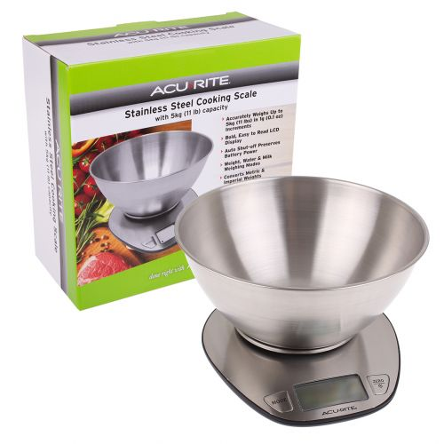 ACURITE STAINLESS STEEL DIGITAL SCALE W/ BOWL 1G/5KG