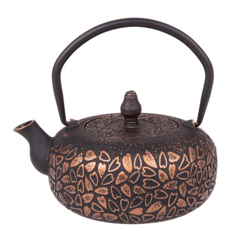 TEAOLOGY CAST IRON TEAPOT 600ML - HEARTS - BLACK/BRONZE
