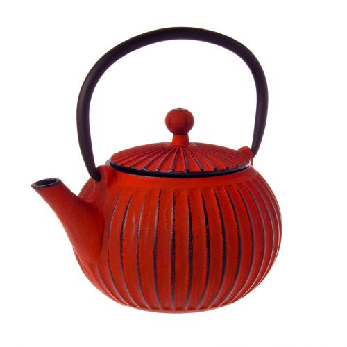 TEAOLOGY CAST IRON TEAPOT 500ML - RIBBED - RED/BLACK