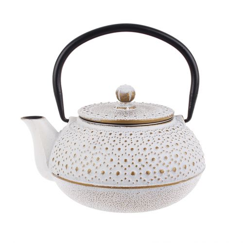 TEAOLOGY CAST IRON TEAPOT 600ML - BEADED - WHITE/GOLD