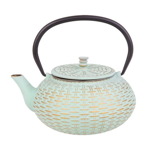 TEAOLOGY CAST IRON TEAPOT 800ML - RATTAN - MINT/GOLD