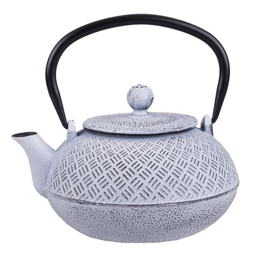 TEAOLOGY CAST IRON TEAPOT 800ML - PARQUETRY - WHITE