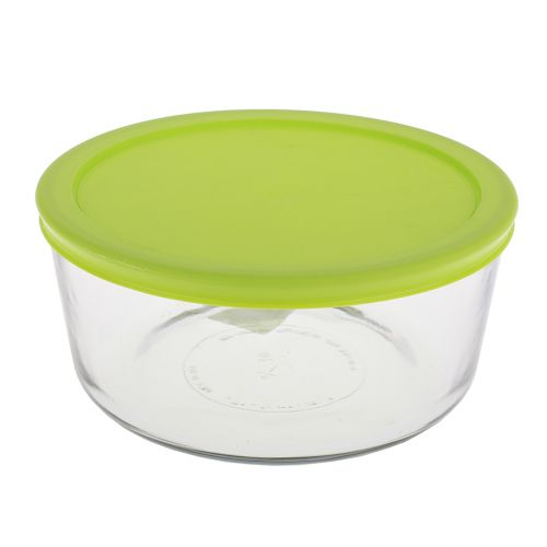 KITCHEN CLASSICS ROUND CONTAINER W/ GREEN LID 7 CUP/1.65L