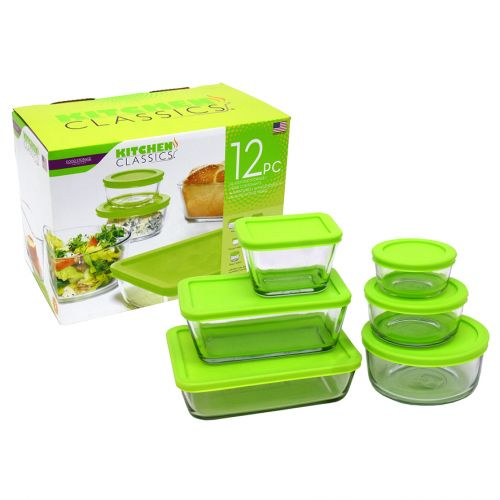 KITCHEN CLASSICS 12 PIECE FOOD STORAGE SET - GREEN