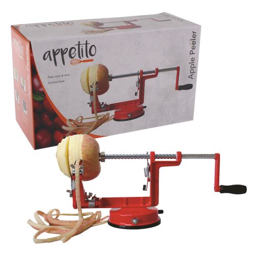 APPETITO APPLE PEELER/CORER W/ SUCTION BASE - RED