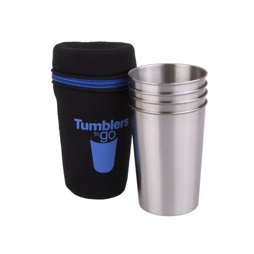 "GO STAINLESS STEEL ""TUMBLERS TO GO"" 350ML SET 4 W/ CASE"