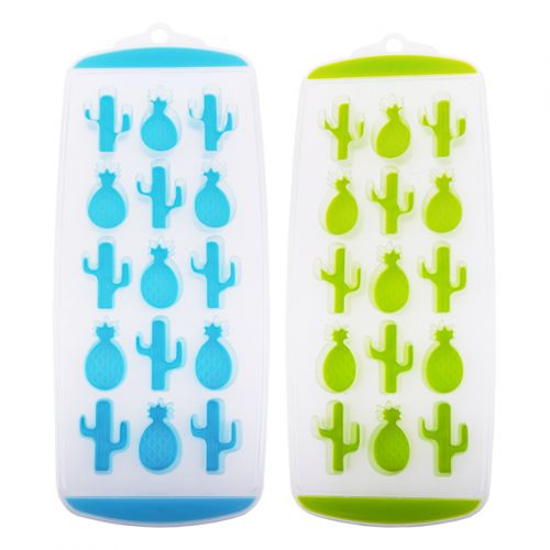 APPETITO EASY RELEASE 15 CUBE PINEAPPLE/CACTUS ICE TRAY SET 2 - BLUE/GREEN