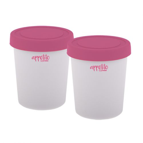 APPETITO MINI ROUND ICE CREAM TUBS SET 2 200ML - PINK