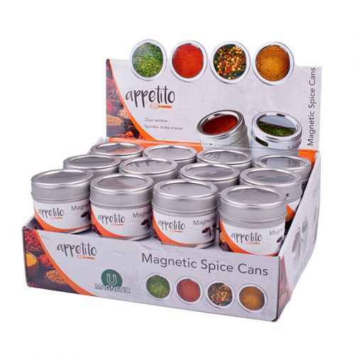 APPETITO MAGNETIC SPICE CANS W/ WINDOW (CDU 24)