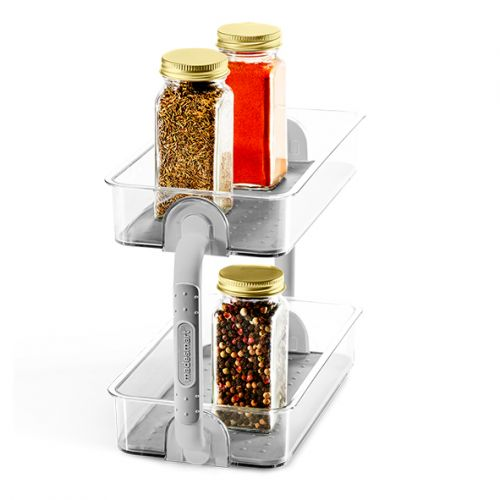 MADESMART CLEAR 2-TIER SPICE ORGANISER - GREY