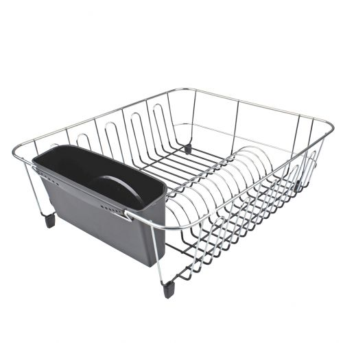 D.LINE LARGE DISH DRAINER CHROME/PVC W/ CADDY - CHARCOAL
