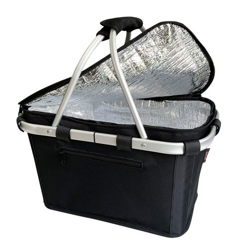 SACHI INSULATED CARRY BASKET W/ LID - BLACK