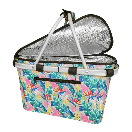 SACHI INSULATED CARRY BASKET W/ LID - BOTANICAL