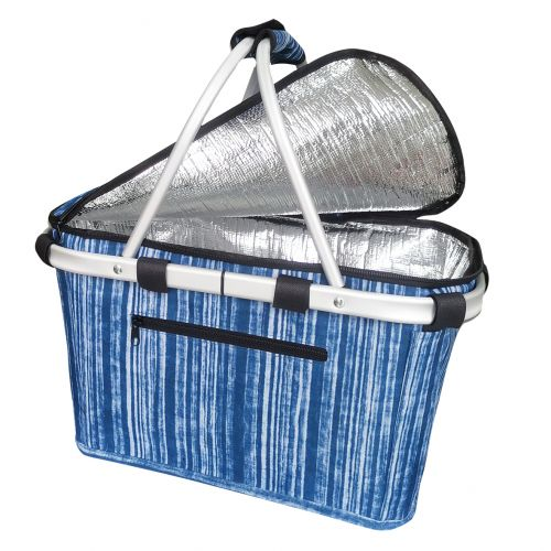SACHI INSULATED CARRY BASKET W/ LID - BLUE STRIPES