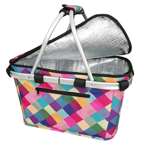 SACHI INSULATED CARRY BASKET W/ LID - HARLEQUIN