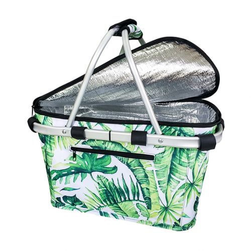 SACHI INSULATED CARRY BASKET W/ LID - JUNGLE LEAF