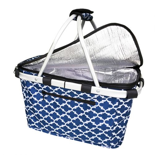 SACHI INSULATED CARRY BASKET W/ LID - MOROCCAN NAVY