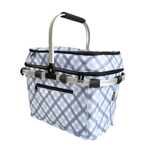 SACHI 4 PERSON INSULATED PICNIC BASKET - GINGHAM BLUE/GREY