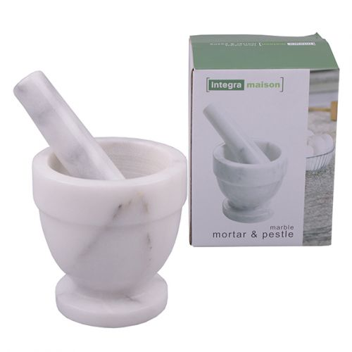 INTEGRA GREY MARBLE MORTAR & PESTLE 10CM