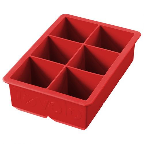 """TOVOLO KING CUBE ICE TRAY - 2"""" CUBES - APPLE RED"""