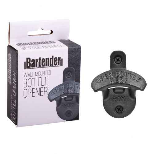 BARTENDER WALL MOUNTED BOTTLE OPENER - BLACK