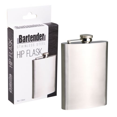 BARTENDER S/S HIP FLASK 8OZ/236ML - SATIN