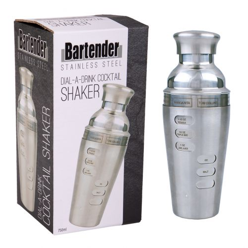 BARTENDER S/S DIAL-A-DRINK COCKTAIL SHAKER 750ML - SATIN