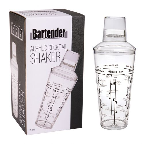 BARTENDER ACRYLIC COCKTAIL SHAKER 750ML