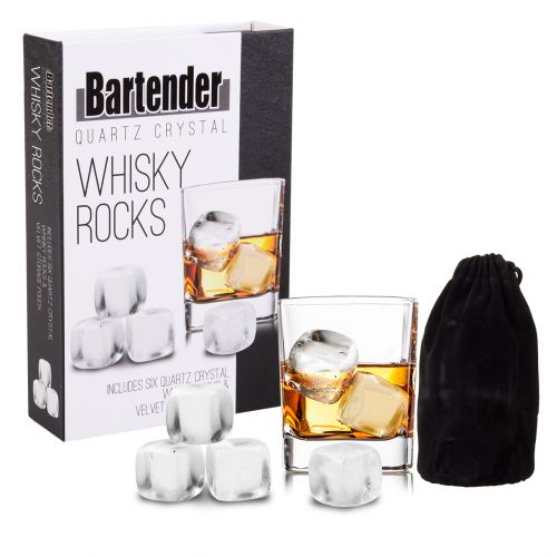 BARTENDER QUARTZ CRYSTAL WHISKY ROCKS SET 6 W/ BAG