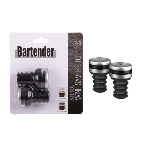 "BARTENDER ""SURE-SEAL"" WINE SAVER STOPPERS SET 2"