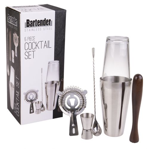 BARTENDER 5 PIECE STAINLESS STEEL COCKTAIL SET