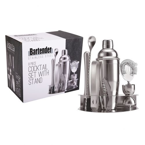 BARTENDER 8 PIECE STAINLESS STEEL COCKTAIL SET W/ STAND