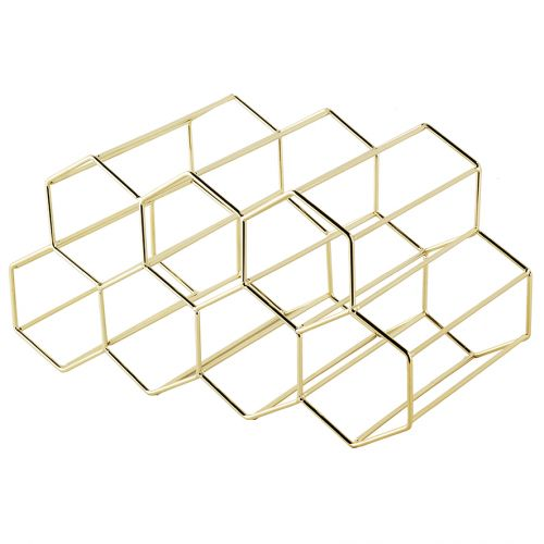BARTENDER HEXAGONAL WINE RACK 9 BOTTLE - GOLD