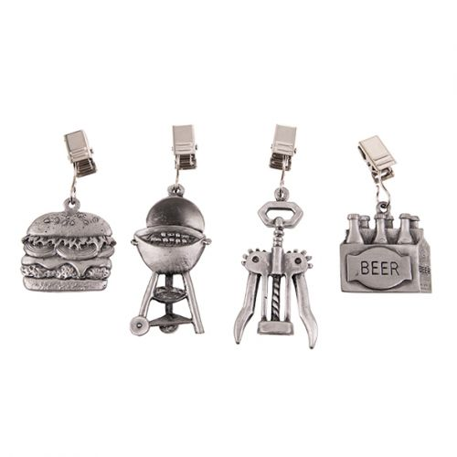 PIZZAZZ PEWTER TABLECLOTH WEIGHTS SET 4 - BBQ