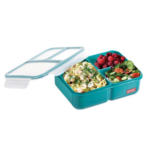 "RUSSBE ""INNER SEAL"" 3 COMPARTMENT LUNCH BENTO 1.6L - TEAL"