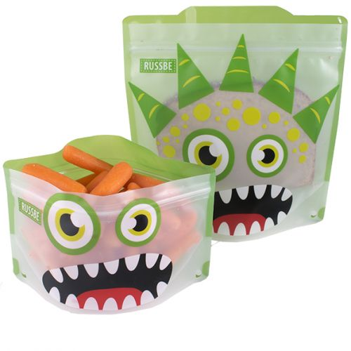 RUSSBE SNACK/SANDWICH BAGS SET 4 - GREEN MONSTER