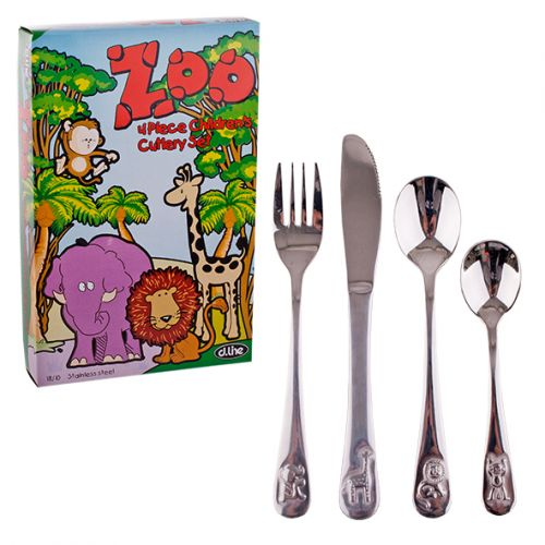 D.LINE 4 PIECE 18/10 KIDS CUTLERY SET - ZOO