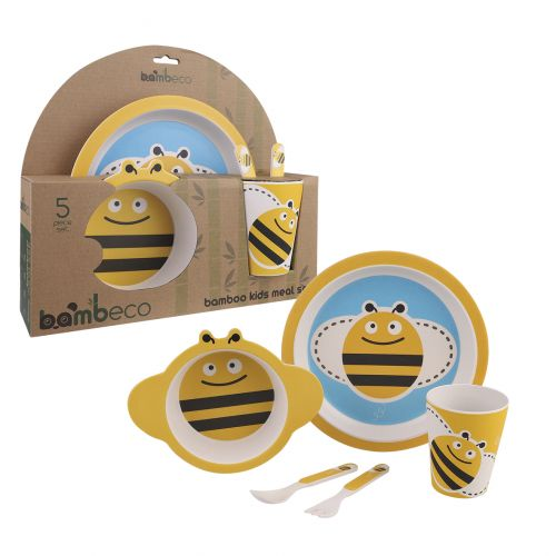 BAMBECO BAMBOO 5 PIECE KIDS MEAL SET - BEE