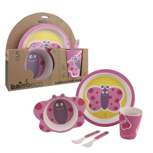 BAMBECO BAMBOO 5 PIECE KIDS MEAL SET - BUTTERFLY