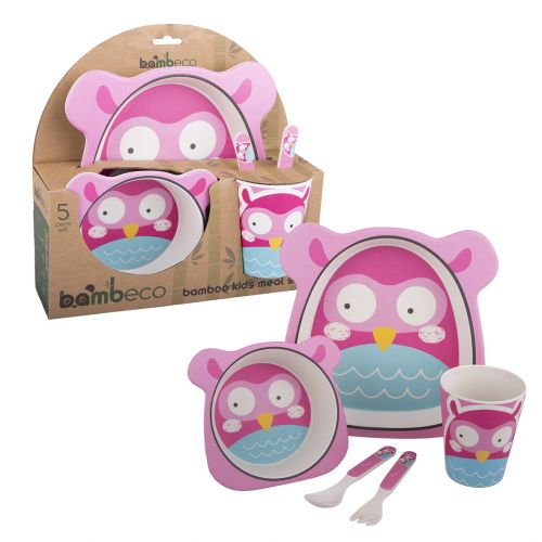 BAMBECO BAMBOO 5 PIECE KIDS MEAL SET - OWL