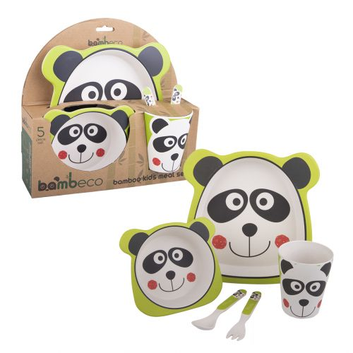 BAMBECO BAMBOO 5 PIECE KIDS MEAL SET - PANDA