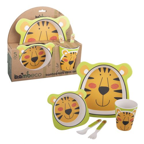 BAMBECO BAMBOO 5 PIECE KIDS MEAL SET - TIGER