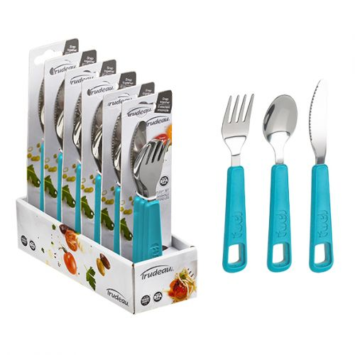 "TRUDEAU ""FUEL"" 3 PIECE SNAP CUTLERY SET - TROPICAL BLUE"