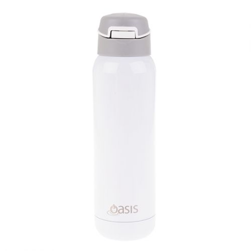 OASIS S/S INSULATED SPORTS BOTTLE W/ STRAW 500ML - WHITE