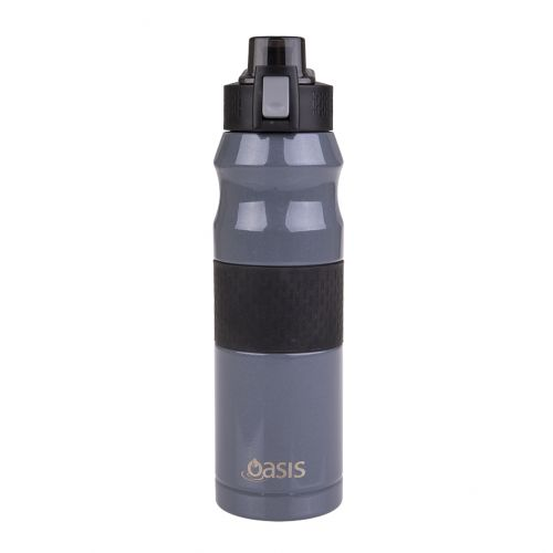 OASIS STAINLESS STEEL DOUBLE WALL INSULATED FLIP-TOP SPORTS BOTTLE 600ML - CHARCOAL GREY