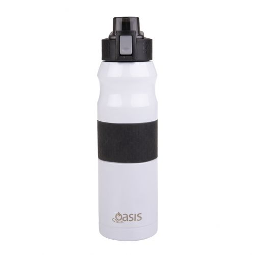 OASIS STAINLESS STEEL DOUBLE WALL INSULATED FLIP-TOP SPORTS BOTTLE 600ML - WHITE