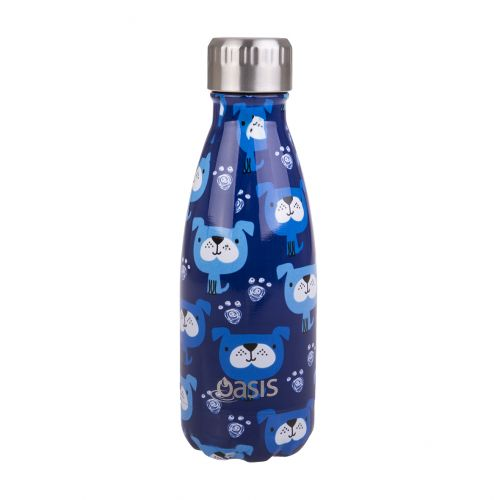 OASIS STAINLESS STEEL DOUBLE WALL INSULATED DRINK BOTTLE 350ML - BLUE HEELER
